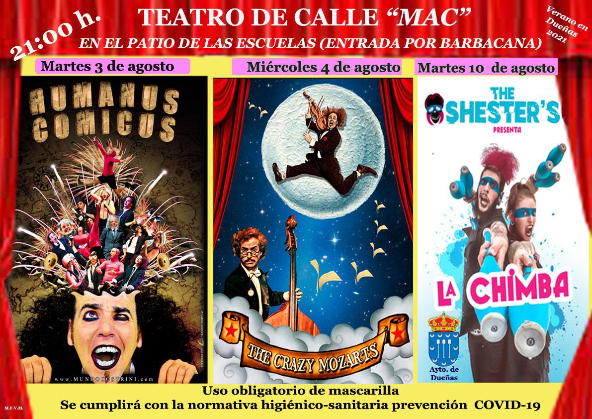 03 de agosto de 2021, Primer Teatro de Calle, Humanus Cumicus, a las 21:00 hs. en el Patio de las Escuelas.
